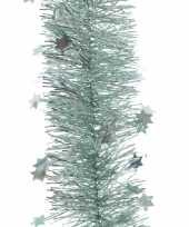 Feest mint groene kerstversiering folie slinger met ster 270 cm