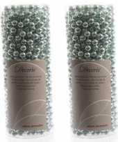 Feest mintgroene kralenslinger kerstslinger 10 mtr 2 stuks