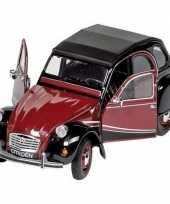 Feest modelauto citroen 2cv rood zwart 16 2 cm