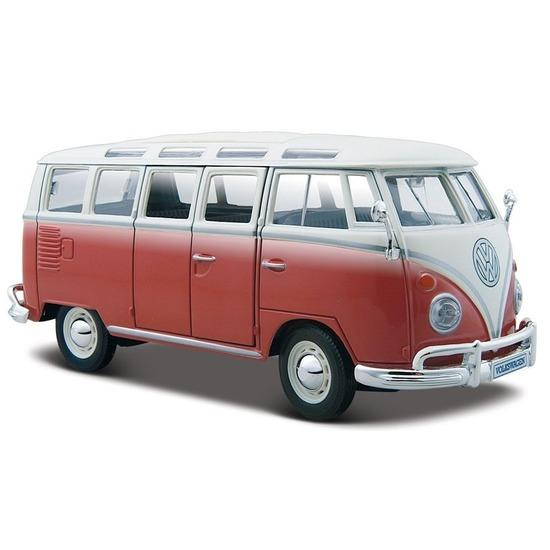 Feest modelauto volkswagen t1 samba rood 1 24