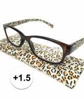 Feest modieuze leesbril 1 5 in tijgerprint
