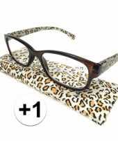 Feest modieuze leesbril 1 in tijgerprint