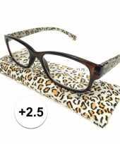 Feest modieuze leesbril 2 5 in tijgerprint