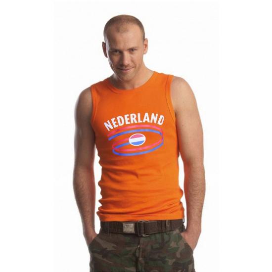 Feest mouwlose shirts met vlag van nederland heren