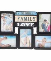 Feest multi zwarte fotolijst family love 46 x 29 cm