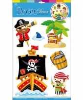 Feest muur deco stickers piraten 6 stuks