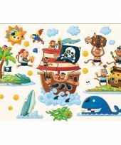 Feest muur deco stickers pirateneiland 22 cm