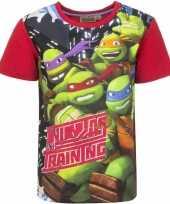 Feest ninja turtles t-shirt met rode mouwtjes