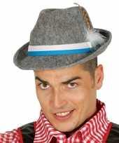 Feest oktoberfest grijze tiroler hoed met veer voor volwassenen