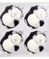 Feest onbreekbare pinguin kerstballen zwart 4 stuks