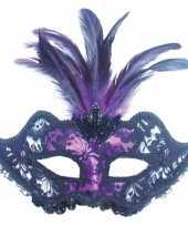Feest oogmasker zwart en paars