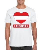 Feest oostenrijk hart vlag t-shirt wit heren