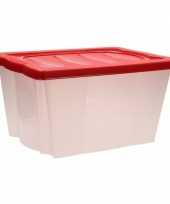 Feest opberg box met vakjes rood 10099737