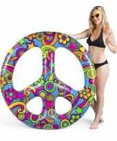 Feest opblaasbaar hippie peace teken 120 cm