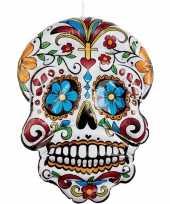 Feest opblaasbare day of the dead schedel 100 cm hangdecoratie