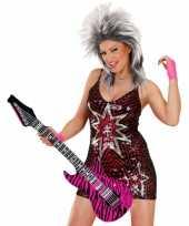 Feest opblaasbare gitaar roze zebra 105 cm