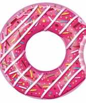 Feest opblaasbare roze donut 107 cm