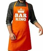 Feest oranje bar king keuken schort heren