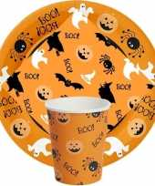 Feest oranje halloween tafeldecoratie 10 borden 10 bekers 20 servetten