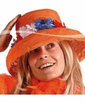 Feest oranje hoed met bloemen