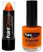 Feest oranje holland uv lippenstift lipstick en nagellak schmink set