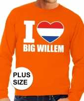 Feest oranje i love big willem grote maten sweater trui heren