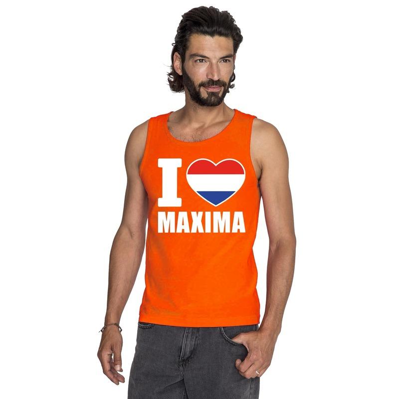 Feest oranje i love maxima tanktop heren