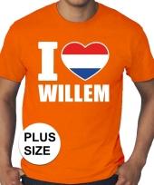 Feest oranje i love willem grote maten shirt heren