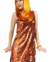 Feest oranje jurk met pailletten
