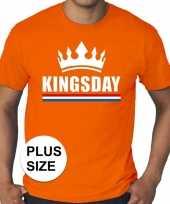 Feest oranje koningsdag kingsday met kroon grote maten shirt heren