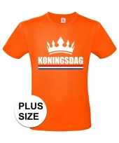 Feest oranje koningsdag met kroon grote maten shirt heren