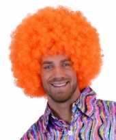 Feest oranje krulletjes pruik neon 10108553