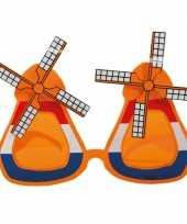 Feest oranje molen bril met wieken