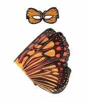 Feest oranje monarchvlinder verkleedset voor meisjes