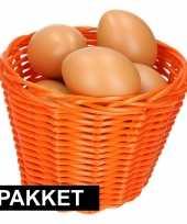 Feest oranje paasmandje met eieren naturel 14 cm