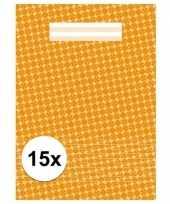 Feest oranje school schriften a4 met lijntjes 15 x