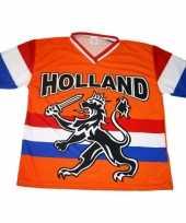 Feest oranje t-shirt met leeuw en hollandse vlag 10047888