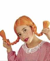 Feest oranje vlechtjes pruik