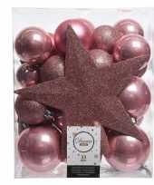 Feest oud roze kerstballen pakket met piek 33 stuks