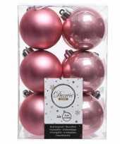 Feest oud roze kerstversiering kerstballen kunststof 6 cm