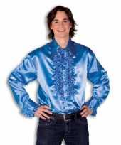 Feest overhemd blauw met rouches heren