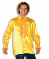 Feest overhemd geel met rouches heren
