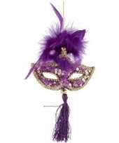 Feest paars goud oogmasker kerstversiering hangdecoratie 17 cm