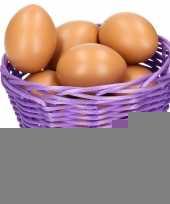 Feest paars paasmandje met eieren naturel 14 cm
