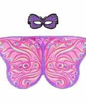 Feest paars roze fantasievlinder verkleedset voor meisjes