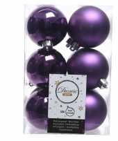 Feest paarse kerstversiering kerstballen kunststof 6 cm