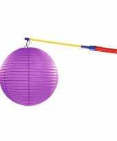 Feest paarse lampion 35 cm met lampionstokje