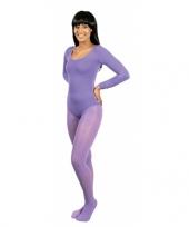 Feest paarse verkleed panty voor dames