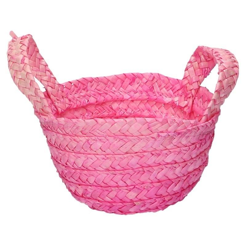 Feest paasmandje roze voor paaseieren