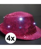 Feest pailletten trilby hoeden roze led light 4 stuks